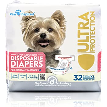 Paw Inspired 32ct Disposable Dog Diapers | Female Dog Diapers Ultra Protection Disposable Puppy Diapers Female | Diapers for Dogs in Heat, Period, Excitable Urination, or Incontinence