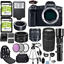Canon EOS R Full Frame Mirrorless Digital Camera Body with Mount Adapter + (3) Canon Lenses + 500mm Telephoto + Slave Flas...
