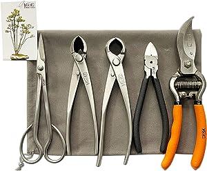 vouiu 5-Piece Bonsai Tool Set,Bonsai Scissors,Concave Cutter,Knob Cutter,Wire Cutter,Pruning Shears