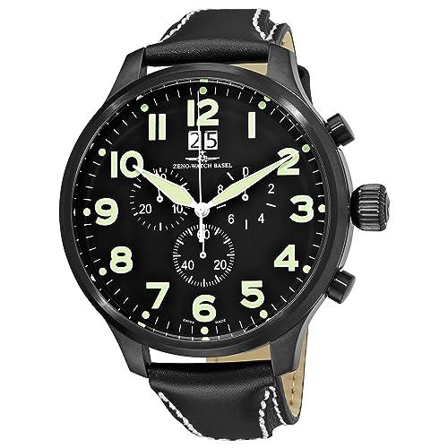Zeno Super Oversized Mens Black Strap Quartz Chronograph Watch 6221-8040-BK-A1