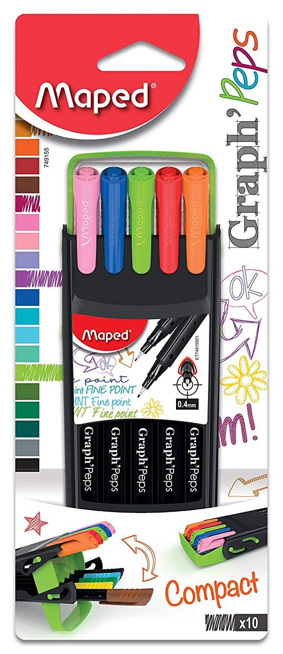 Maped Graph'Peps Compact Case 0.4mm Fine Felt Tipped Pens, Pack of 10 (749155)