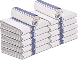 """Talvania Kitchen Dish Towels - Pack of 12 Made of 100% Cotton Flour Sack Dish Towels Herringbone Stripe, 15"""" x 25"""" The Perfect Classic White Dish Towel for Bars, Kitchens, Counters & Much More."""