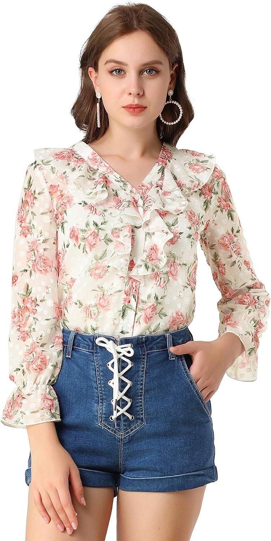 Allegra K Women's V-Neck Ruffle Collar Long Sleeve Rose Floral Blouse