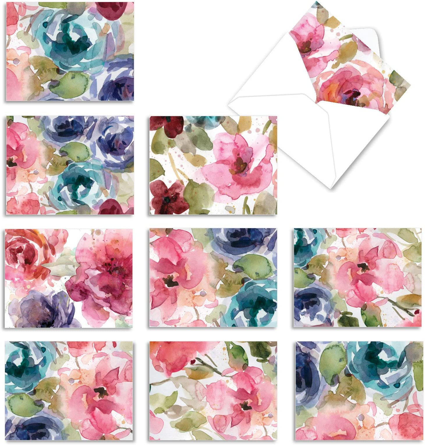 Hand-drawn Purple and Pink Flower Cards Set of 6 Original Designs Yellow Elegant and Simple Floral Note Cards Variety Pack