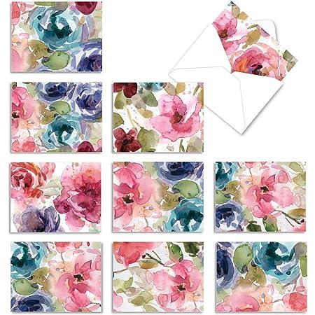 Blank Pink Floral Note card Set