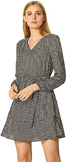 Allegra K Women's V-Neck Ruffle Hem Belted Geometric Pattern Long Sleeve Above Knee Dress