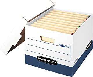 Bankers Box STOR/FILE Heavy-Duty Storage Boxes, FastFold, Lift-Off Lid, Fits End Tab Files, Letter/Legal, Case of 12 (00709)