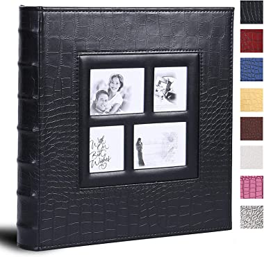 Vienrose Photo Album for 600 4x6 Photos Leather Cover Extra Large Capacity for Family Wedding Anniversary Baby Vacation (Blac