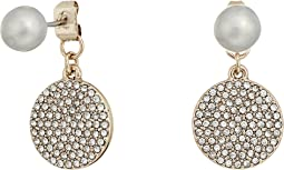 LAUREN Ralph Lauren - Fresh Water Pearl with Pave Disc Drop Earrings