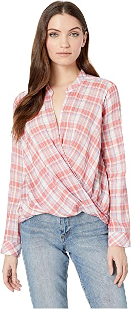 Long Sleeve Surplice Backyard Plaid