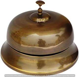 JD'Z COLLECTION Brass Aluminum Vintage Desk Bell - Large Service, Antique Finish, Loud and Clear, Call Ringing Bell for Ho...