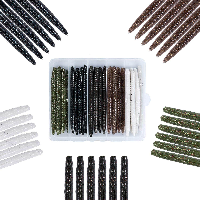 Mgotu Popular products Wacky Senko Worms-4'' Ultra-Cheap Deals 5''Soft Lures Bass Fishing B Plastic