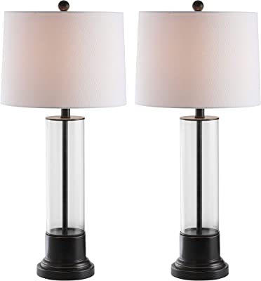 Safavieh Lighting Collection Jayse Black/Clear 31-inch Bedroom Living Room Home Office Desk Nightstand Table Lamp (Set of 2) - LED Bulbs Included