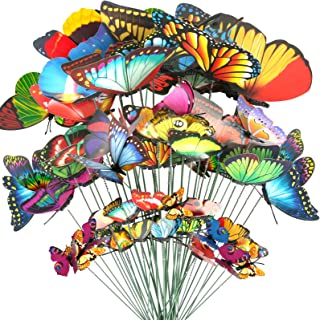 Teenitor 40 Pcs Butterfly Stakes, 5 Different Size Waterproof Butterflies Stakes Garden..