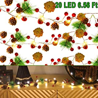 20 LED Christmas String Lights, 6.5 ft Pinecone Bell Red Berry Garland with Lights Battery Operated Fairy String Lights for Christmas Decorations, Holiday, Party, Wedding, Patio, Garden, Thanksgiving