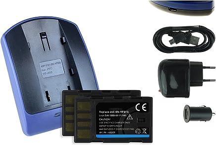 2 Baterìas + Cargador (USB/Coche/Corriente) para JVC BN-VF815 / GC-PX10, PX100 / GZ-MG... / GR-D... ver lista!