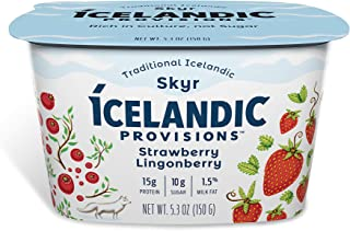 Icelandic Provisions Skyr Yogurts, Strawberry & Lingonberry, 5.3 oz