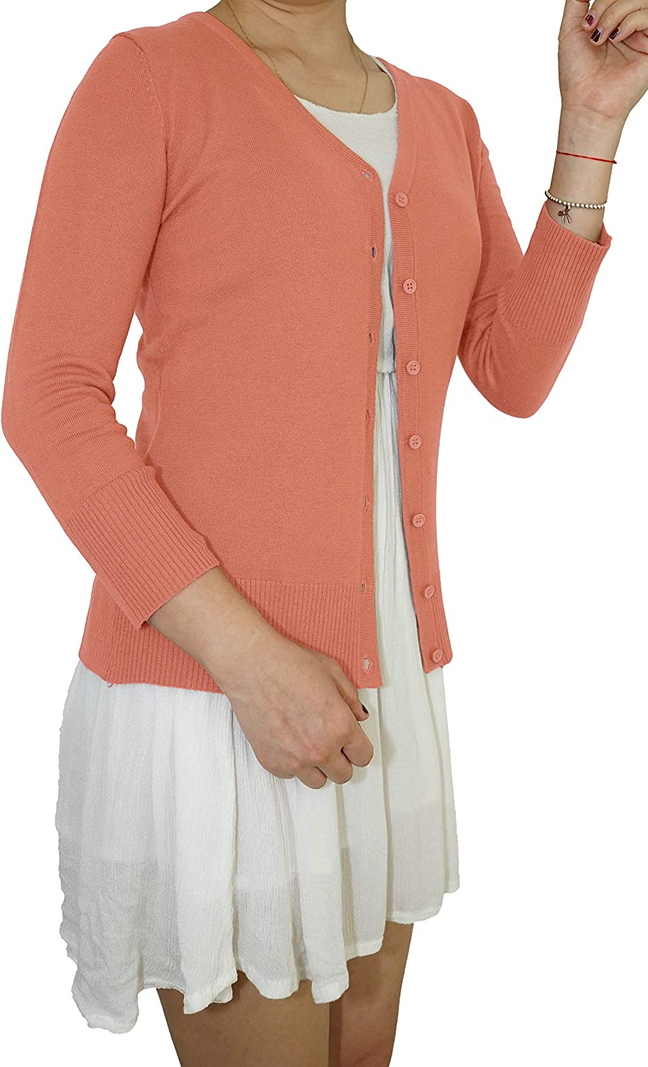 Vintage Cardigan for Women - 3/4 Sleeve Button Down V-Neck Soft Knit - Casual Elegant Classic Basic Sweater