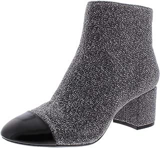 INC Womens Niva Knit Glitter Ankle Boots Silver 7 Medium (B,M) US
