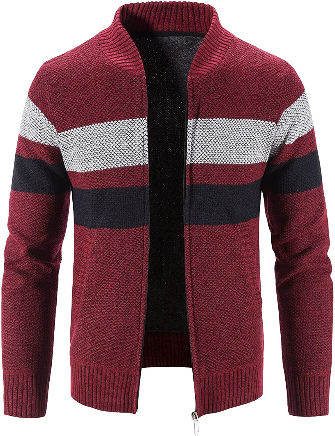 Men's Knit Cardigan Sweaters Casual Long Sleeve Stand Collar Open Front Fall Winter Clothes with Full Zip and Pockets