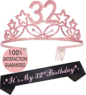 32nd Birthday Tiara and Sash Pink, 32nd Birthday Gifts for Lady, Happy 32nd Birthday Party Supplies, 32 & Fabulous Glitter Satin Sash and Crystal Tiara Birthday Crown for 32nd Birthday Party Supplie