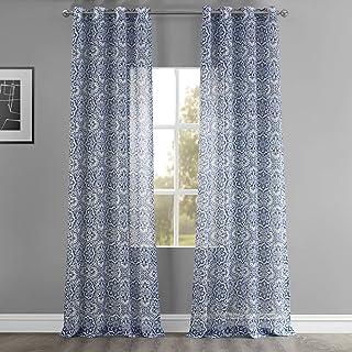 HPD Half Price Drapes SHCH-PS18074-120-GR Grommet Printed Faux Linen Sheer Curtain (1 Panel), 50 X 120, Mardi Gras Blue