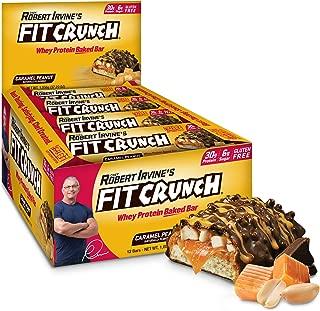 FITCRUNCH Protein Bars, Designed by Robert Irvine, Protein Bar, Gluten Free, Award Winning Taste, Whey Protein Isolate, Low Sugar (12 Bars, Caramel Peanut)