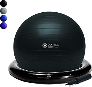 Gaiam Essentials Balance Ball & Base Kit,  65cm Yoga Ball Chair,  Exercise Ball with Inflatable Ring Base for Home or Office Desk,  Includes Air Pump