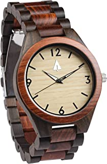 Treehut Men's Rosewood and Ebony Wooden Watch with All Wood Strap Quartz Anal.