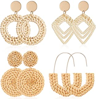 4 Pairs Rattan Earrings Lightweight Geometric Statement Tassel Woven Bohemian Earrings Handmade Straw Wicker Braid Hoop Drop Dangle Earrings for Women Girls