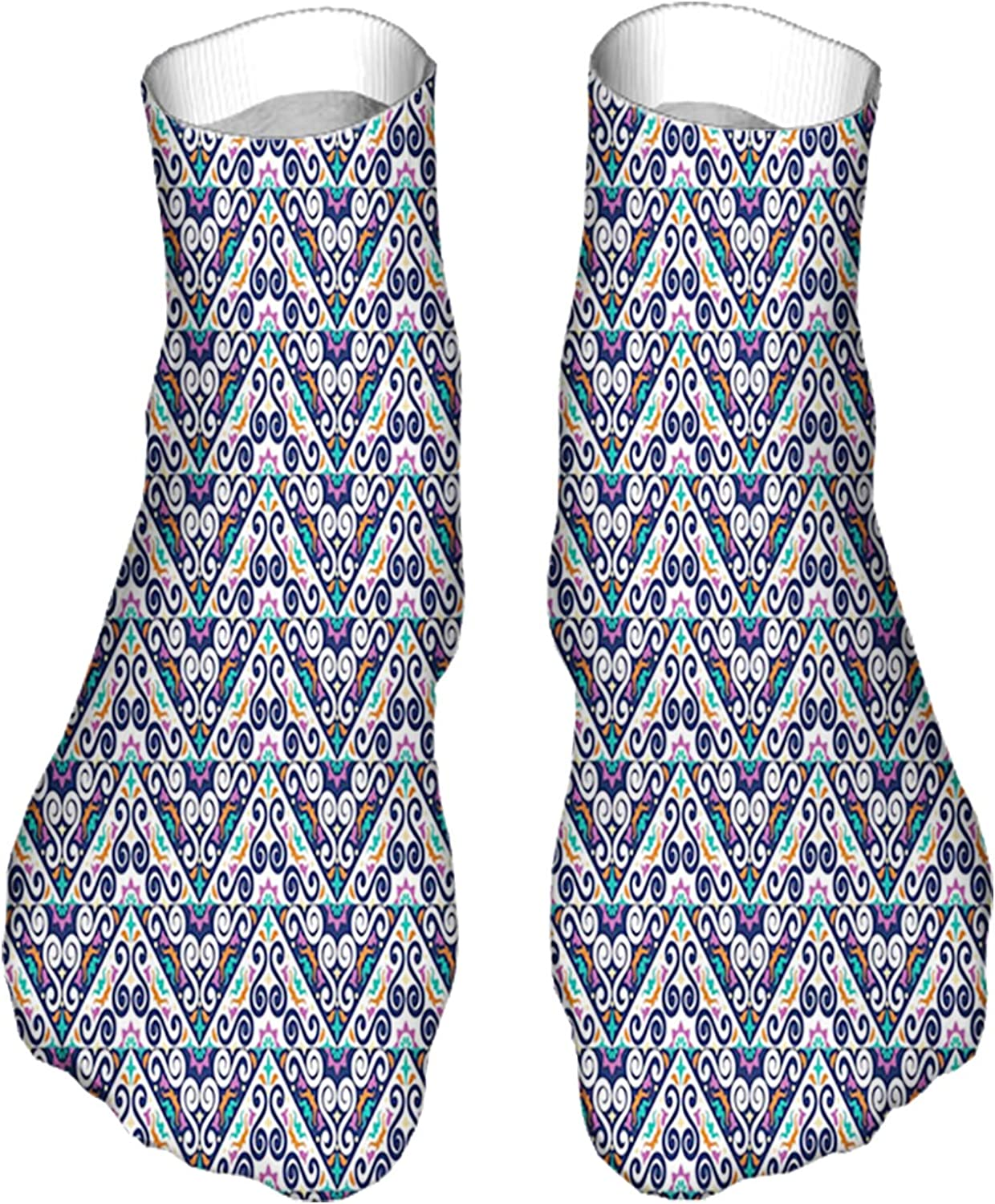 Women's Colorful Patterned Unisex Low Cut/No Show Socks,Colorful Abstract Folk Ornamental Triangles and Swirls