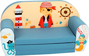 DELSIT Children's 2 in 1 Flip Open Foam Double Sofa, Children Sofa, Kids Foldable Sofa, Kids Sofa, Kids Couch - Premium Quality, European Made, Lightweight, Safe, Washable (Pirate)