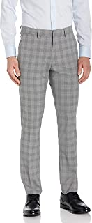 Kenneth Cole REACTION Men's Stretch Traditional Plaid Slim Fit Flat Front Flex Waistband Dress Pant
