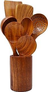 Lot de 8 spatules en bois de teck naturel
