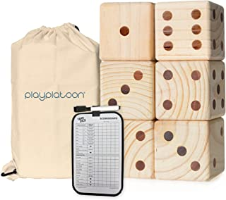 Play Platoon Lawn Dice with Scoreboard - Giant Wooden Yard Dice Outdoor Game
