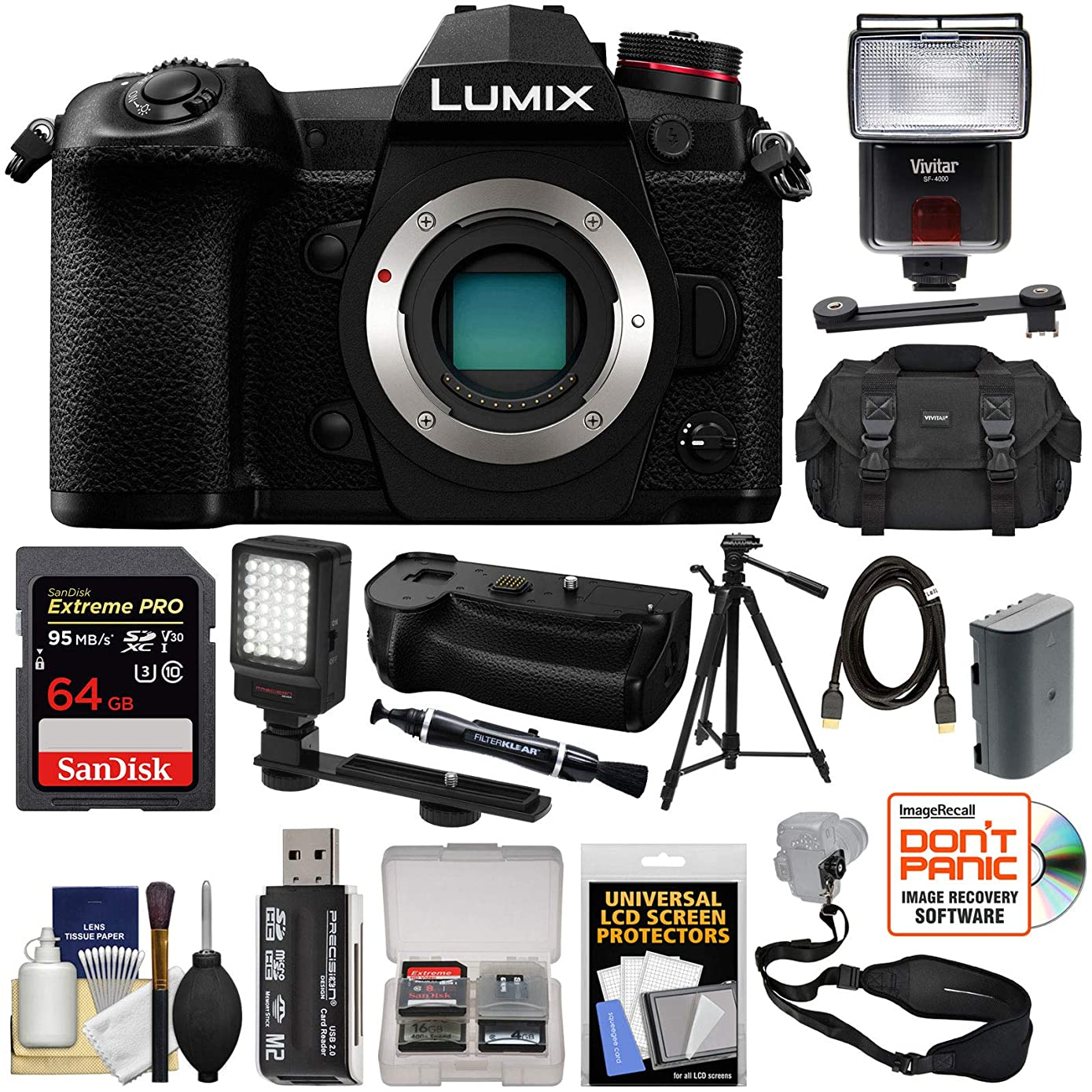 Panasonic Lumix DC-G9 4K Wi-Fi Digital Camera Body with DMW-BGG9 Battery Grip + 64GB Card + Battery + Case + Flash + LED Light + Tripod Kit