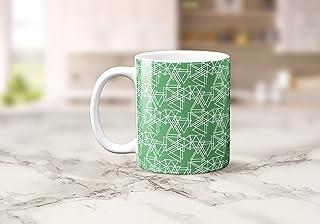 Verde con un triángulo blanco Diseño geométrico Taza de té o café 11 oz