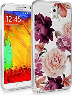 Galaxy Note 3, Galaxy Note 3 Case with Flowers, BAISRKE Slim Shockproof Clear Floral Pattern Soft Flexible TPU Back Cove for Samsung Galaxy Note 3 Note III N9000 [Purple Pink]
