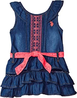 Medium Blue Wash Denim with Embroidered & Lace Dress (Little Kids/Big Kids)