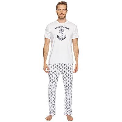 Nick Graham Anchors Away Short Sleeve Lounge Set (White/Navy) Men