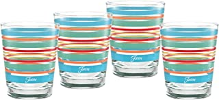 Officially Licensed Fiesta Stripes 14-Ounce Tapered DOF Double Old Fashioned Glass (Set of 4) (Rainbow Radiance Collection)