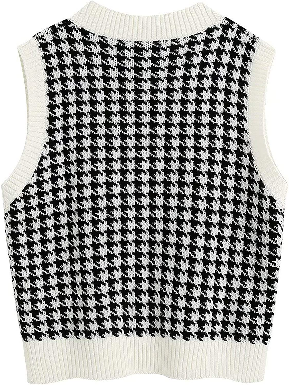 Meladyan Women's Oversized Houndstooth Graphic Knitted Sweater Vest Vintage V Neck Sleeveless Preppy Jumper