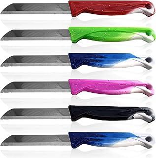 Solingen Lot de 6 couteaux de cuisine en acier inoxydable dentelé Multicolore