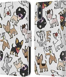 Head Case Designs Chihuahua Hond Ras Patronen Lederen Book Portemonnee Cover en Bijpassende Wallpaper compatibel met Apple...