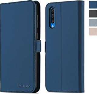 Polaland Galaxy A50 Wallet Case, [New Version] Premium Leather Flip Cover with Card Slots and Magnetic Clasp Compatible Samsung Galaxy A50 (2019) - Navy
