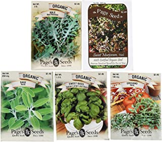 Set of 5 Variety Premium 100% Organic Herb Seeds! Deluxe Variety Non-GMO Heirloom Certified Organic Seeds (5 Herb Set)