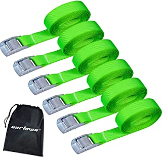 CARTMAN Lashing Straps up to 600lbs, 6pk in Carry Bag, Green Color