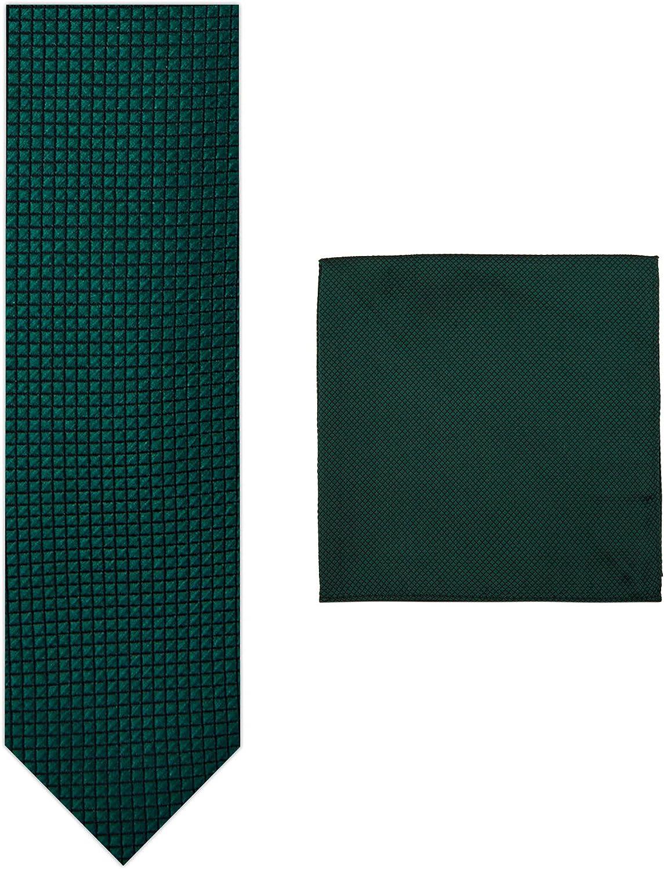 2 Piece Set: Jacob Alexander Men's Woven Subtle Mini Squares Ultra Skinny Neck Tie and Pocket Square