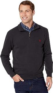 Men's 1/4 Zip Mock Neck Flat Back Rib Pullover