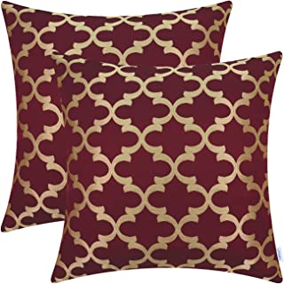 CaliTime Pack of 2 Soft Throw Pillow Covers Cases for Couch Sofa Home Decoration Modern Quatrefoil Trellis Geometric 18 X 18 Inches Burgundy Gold